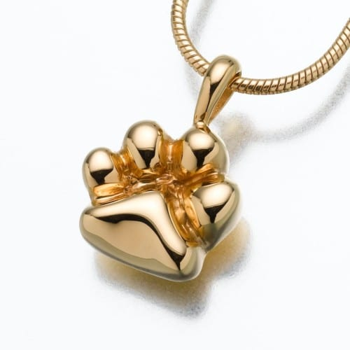 Paw Cremation Pendant, yellow gold, 166YG