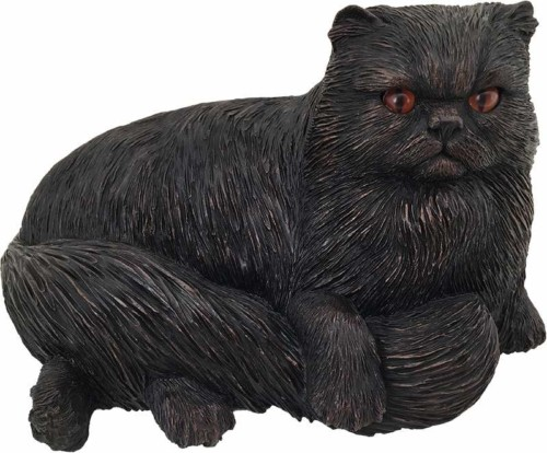 Persian Cat bronze look large figurine cremation urn
