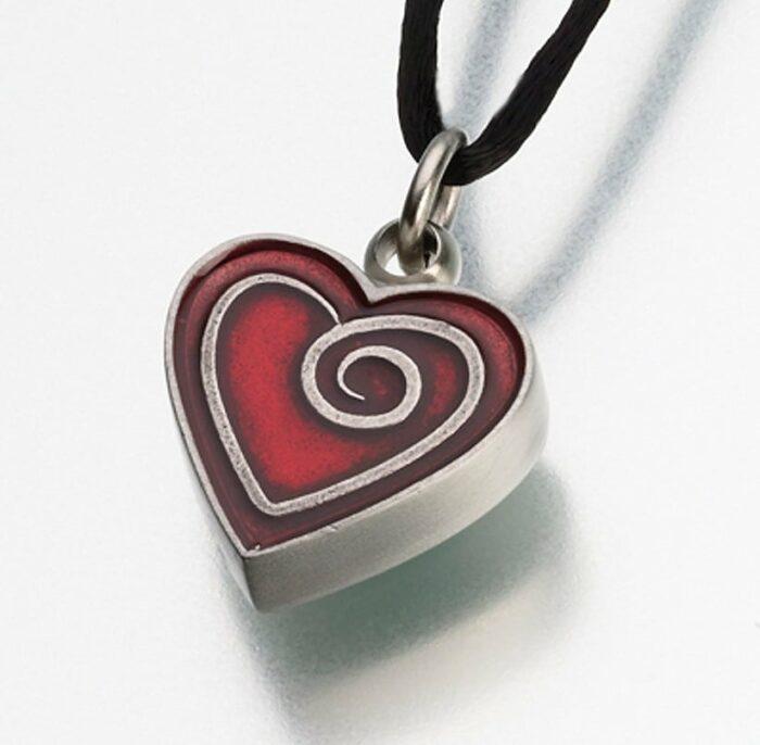 Pewter Heart Cremation Pendant w/ Enamel Spiral, 187PT