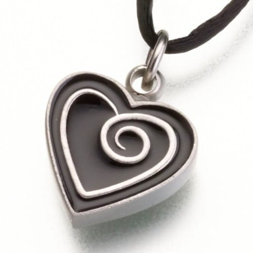 Pewter Heart Cremation Pendant w/ Enamel Spiral, 187PT-B
