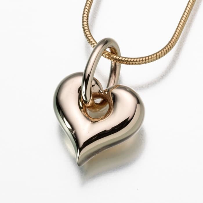 Puff Heart Cremation Pendant with Loop, gold vermeil, 184GV