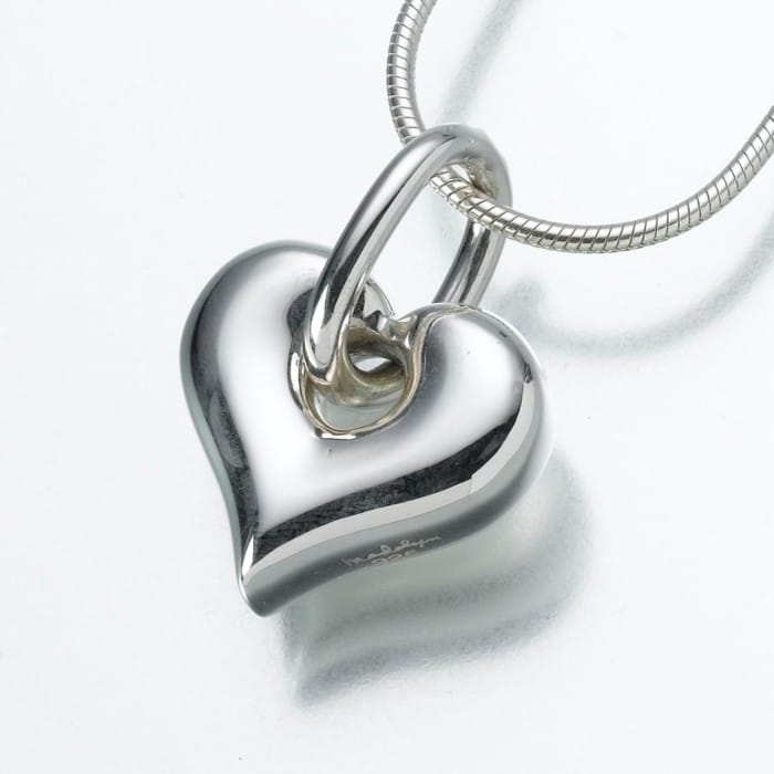 Puff Heart Cremation Pendant with Loop, sterling silver, 184SS