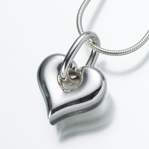 Puff Heart Cremation Pendant with Loop, white gold, 184WG