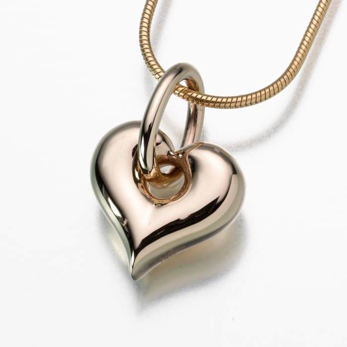 Puff Heart Cremation Pendant with Loop, yellow gold, 184YG