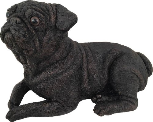Pug dog bronze look large figurine cremation urn