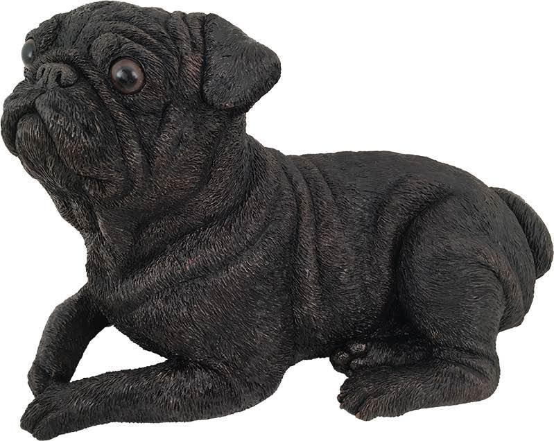 Pug dog bronze look large figurine cremation urn