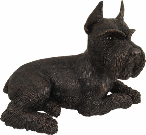 Schnauzer Ears Up dog bronze look large figurine cremation urn