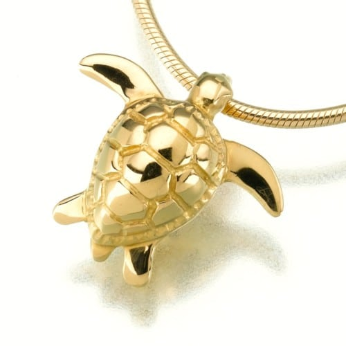 Sea Turtle Cremation Pendant, yellow gold, 157YG