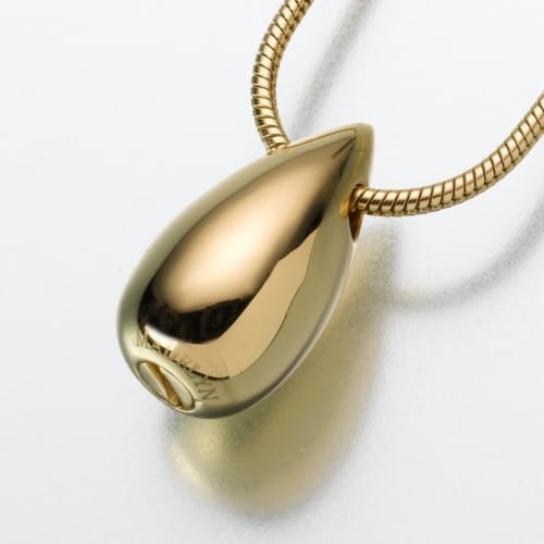 Slide Teardrop Cremation Pendant, yellow gold, 121YG