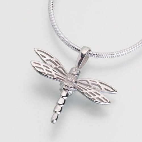 Small Dragonfly Cremation Pendant, sterling silver, 216SS