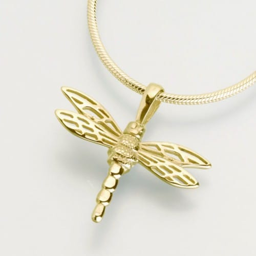 Small Dragonfly Cremation Pendant, yellow gold, 216YG
