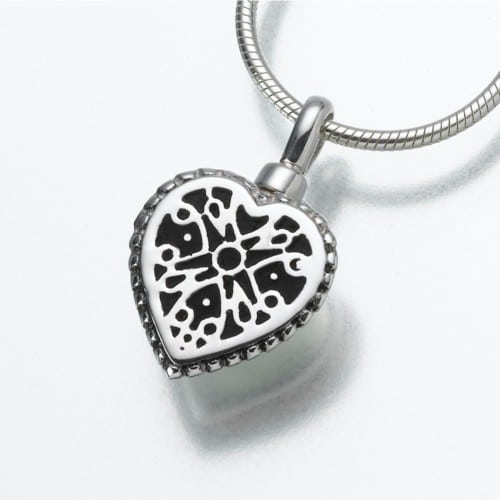 Small Filigree Heart Cremation Pendant, white gold, 158WG
