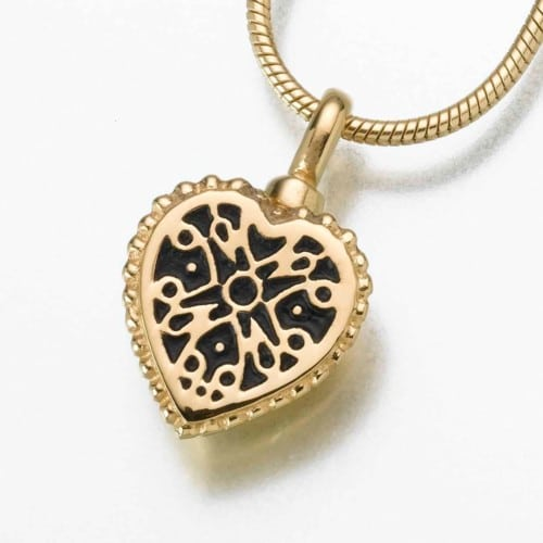 Small Filigree Heart Cremation Pendant, yellow gold, 158YG
