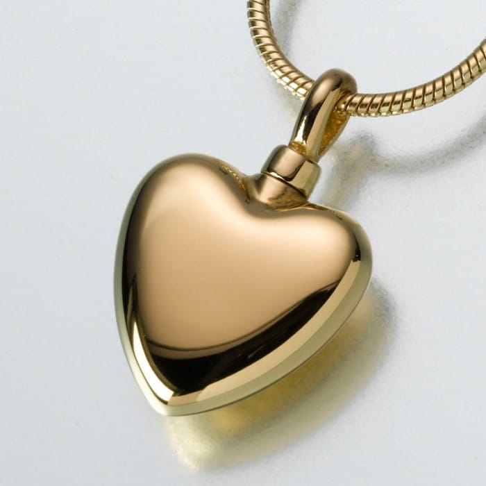 Small Heart Cremation Pendant, gold vermeil, 107GV