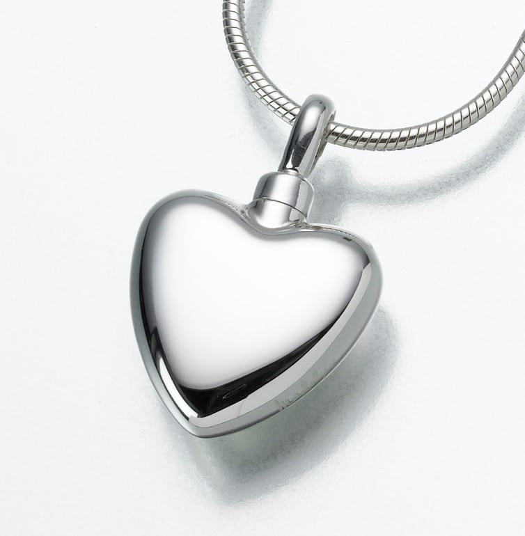 Small Heart Cremation Pendant, sterling silver, 107SS