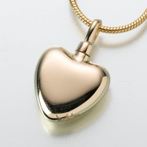 Small Heart Cremation Pendant, yellow gold, 107YG