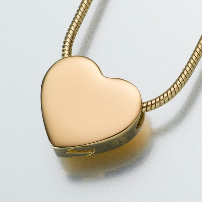 Small Slide Heart Cremation Pendant, gold vermeil, 130GV