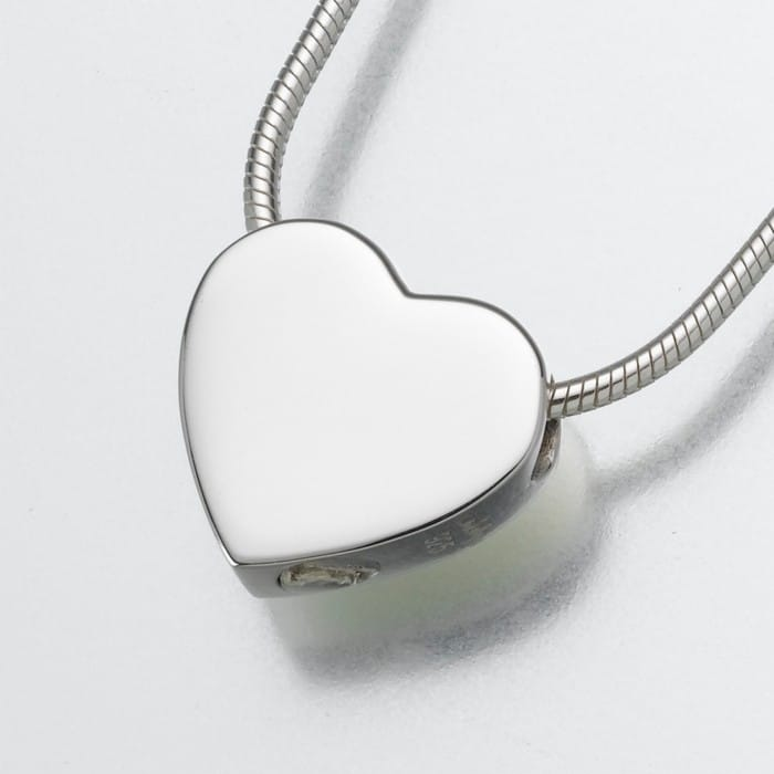 Small Slide Heart Cremation Pendant, sterling silver, 130SS