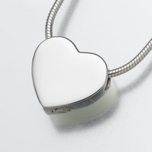 Small Slide Heart Cremation Pendant, white gold, 130WG