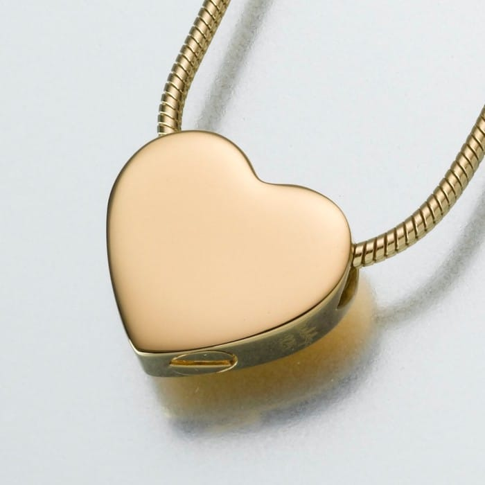 Small Slide Heart Cremation Pendant, yellow gold, 130YG