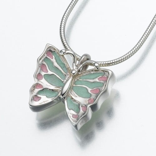 Sterling Silver Butterfly Cremation Pendant with Enameled Wings, 129