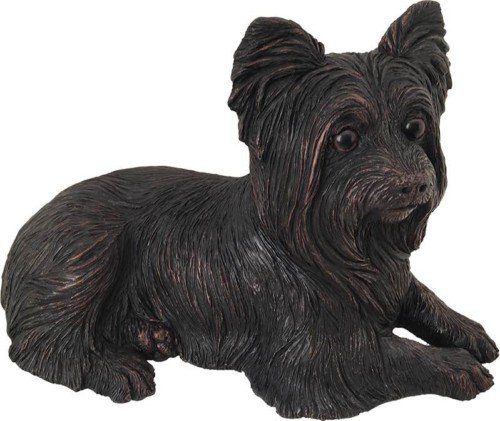 Yorkshire Terrier dog bronze look large figurine cremation urn
