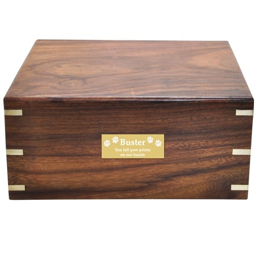 Over sized rosewood pet cremation urn, front plate