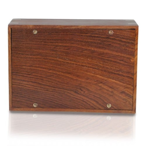 Rosewood cremation urn, medium size, with inlays, bottom view