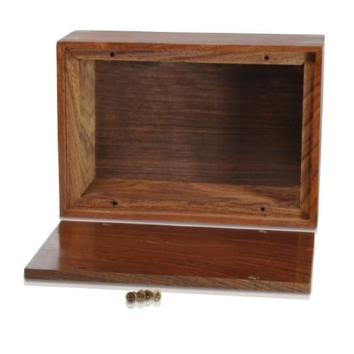 Rosewood cremation urn, medium size, with inlays, bottom open