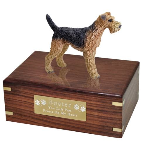 Airedale Figurine Cremation urn, medium, with engraved plaque