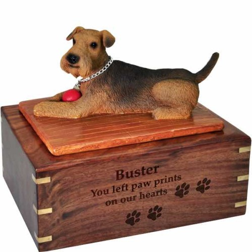 Airedale Figurine Cremation urn, large, with engraved wood