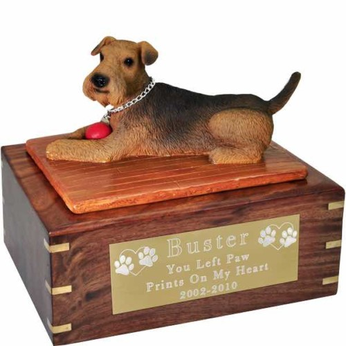 Airedale Figurine Cremation urn, large, with engraved plaque