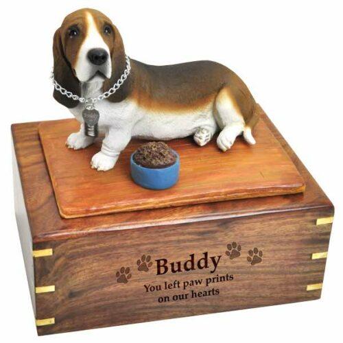 Basset hound figurine cremation urn with engraved wood