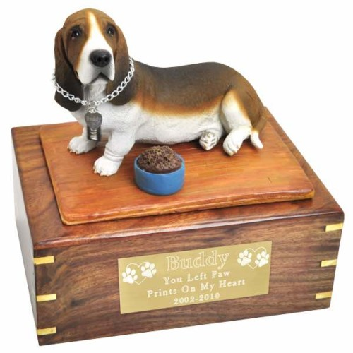 Basset hound figurine cremation urn with engraved plaque, large