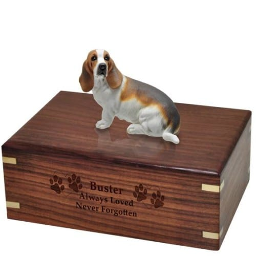 Basset hound figurine cremation urn with wood engraving