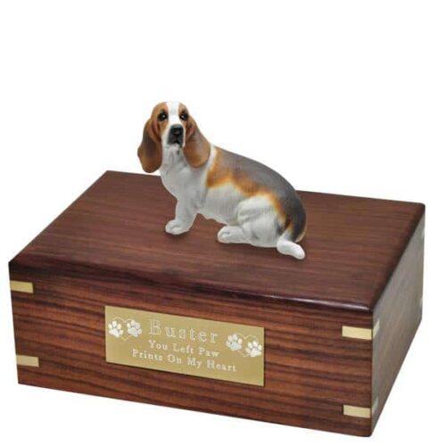 Basset hound figurine cremation urn with engraved plaque, medium
