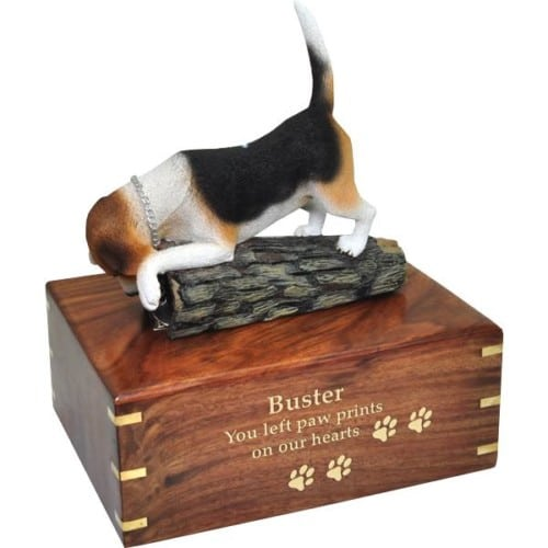 Beagle dog cremation urn, large, with engraved wood, gold fill