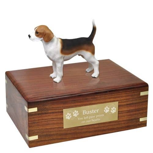 Beagle figurine cremation urn, medium, with engraved plaque