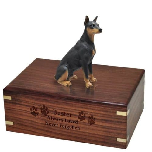 Black Doberman Pinscher Cremation Urn, with engraved plate, engraved wood DF25A