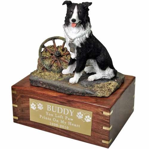 Border Collie Cremation Urn with engraved plaque, large