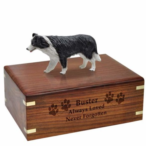 Border Collie Figurine Cremation urn, with engraved wood