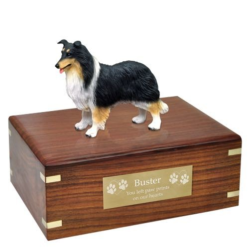 Tricolor Border Collie Cremation Urn with engraved plaque