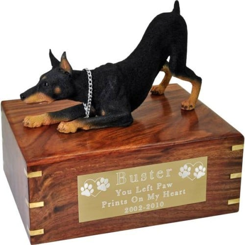 Doberman Pinscher Cremation Urn, with engraved plate, large, DFL25A