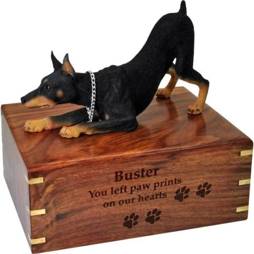 Doberman Pinscher Cremation Urn, with wood engraving, DFL25A