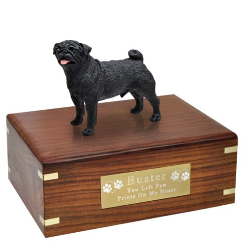 Black Pug Cremation Urn with engraved plaque, medium