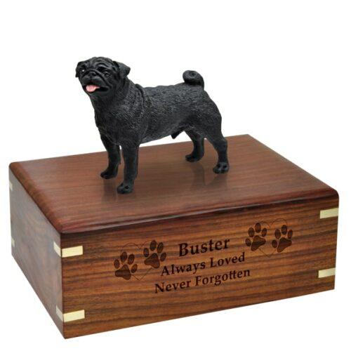 Black Pug Cremation Urn with engraved wood