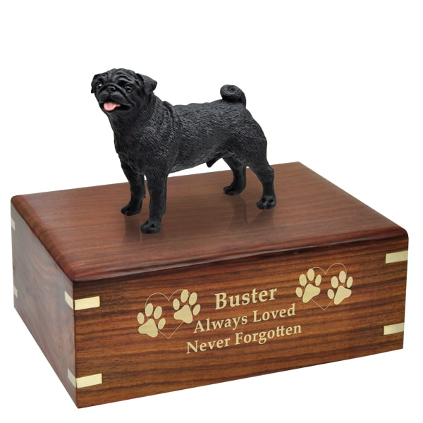 Black Pug Cremation Urn with engraved wood, gold fill