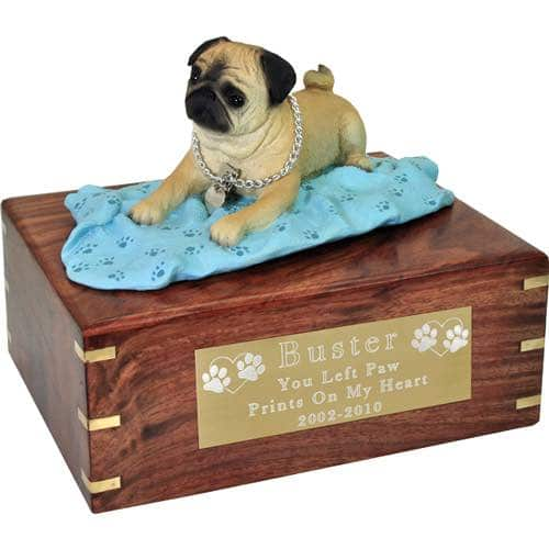 Fawn Pug on blanket Cremation Urn with engraved plaque, large