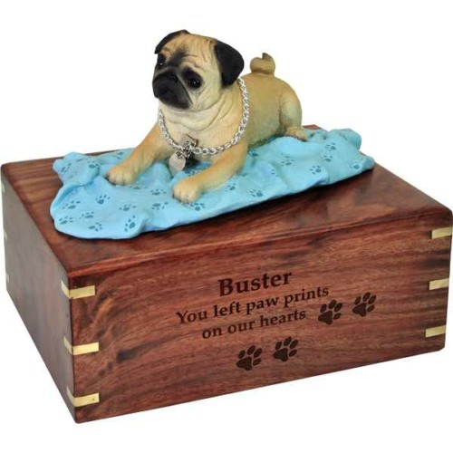 Fawn Pug on blanket Cremation Urn with engraved wood, large