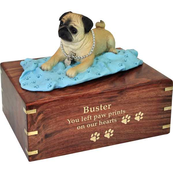 Fawn Pug on blanket Cremation Urn with engraved wood, large, gold fill